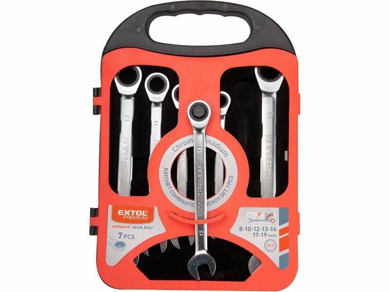Extol Premium kľúče očko-račňové kĺbové 8-19mm, 7ks 8816105