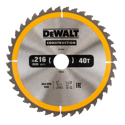DeWalt pílový kotúč Construction 216x30mm 40z DT1953